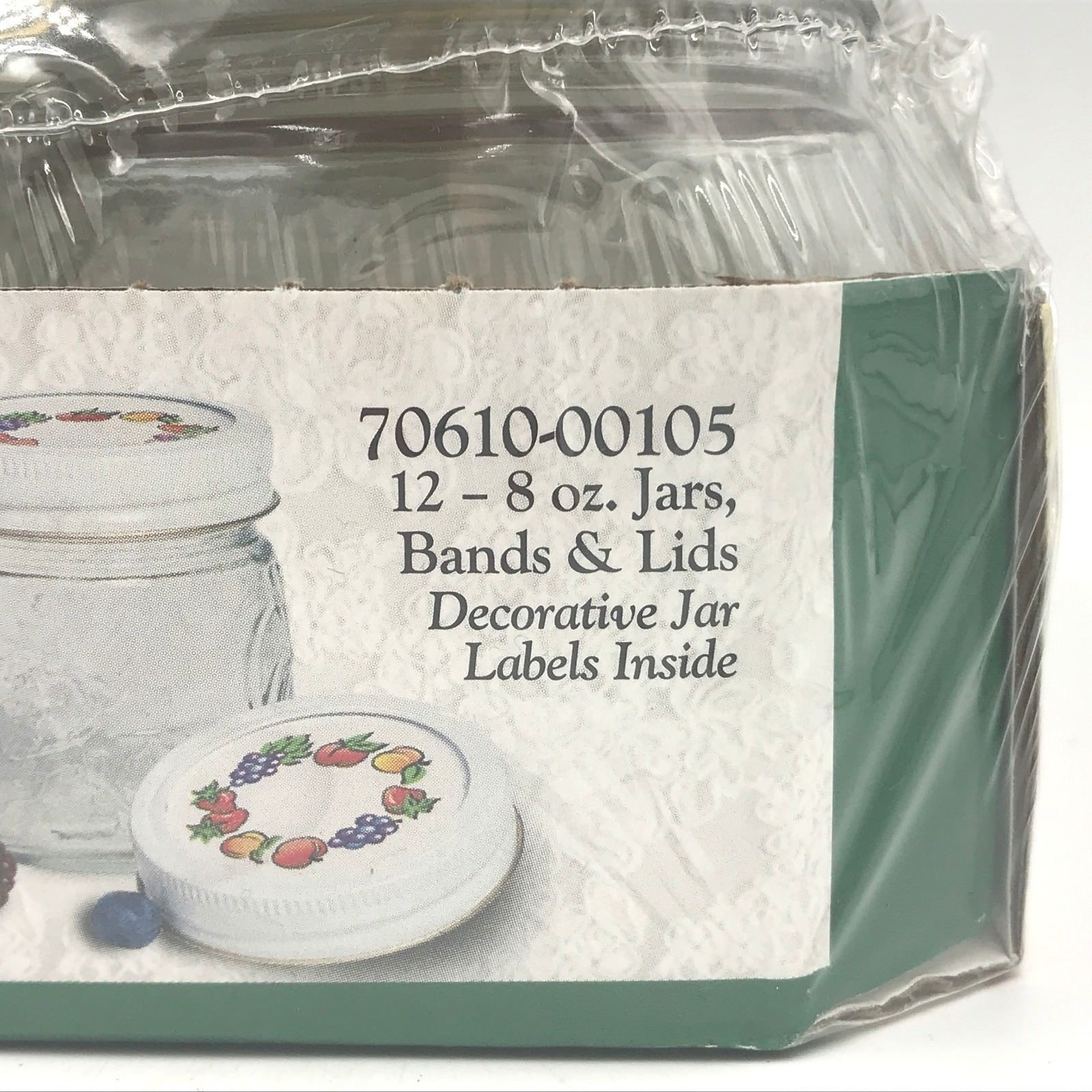 Kerr Fruit Decorated Lids Jam and Jelly 8 oz Jars Case of 12 NOS Embossed SH