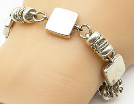 MEXICO 925 Sterling Silver - Vintage Square Twisted Link Chain Bracelet ... - $82.38