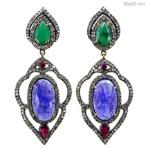 Emerald/Tanzanite Gemstone 14kt Gold 3.6 ct Diamond Pave Silver Dangle E... - $1,350.48