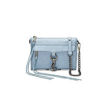 Rebecca Minkoff Gray Sky Blue Leather Mini MAC Crossbody Clutch NWT - £121.93 GBP