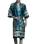 Panda Legends Retro Green Silk Khan Steamed Bathrobes Men's Kimono Pajam... - $31.26