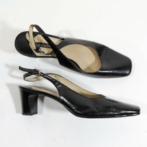 Liz Claiborne Alessandra Size 7.5 M Sangle à L'Arrière Chaussures Cuir Noir - $24.75