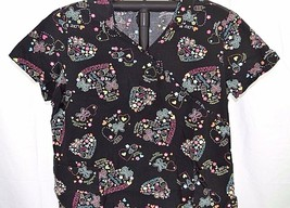 Yummy Ice Cream Love Black Scrub 2XL Cotton 2 Pocket Front Gathered in the Back - $19.99