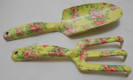 APRIL CORNELL Garden Hand Tool Lot SPADE & FORK Yellow Pink Roses Floral... - £25.41 GBP