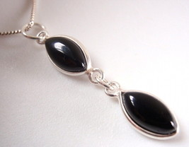 Black Onyx Pendant 925 Sterling Silver Double Marquise Gemstone 1.87ct New - $12.86