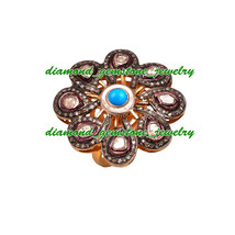 Rose Cut Victorian Vintage Diamond Ring Turquoise Ring 925 Sterling Silv... - $512.26