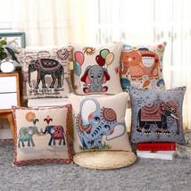 "18"" Square Sofa Cushion Cover Elephant Jacquard Weave Cotton Linen Pillow Case - $4.79+"