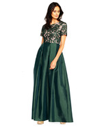 Adrianna Papell Short Sleeve Ball Gown Vine Beaded Bodice, Dusty Emerald... - $217.79