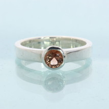 Orange Copper Sunstone Gem Handmade Silver Stackable Ladies Ring size 5.5 - £39.89 GBP