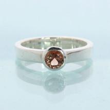 Orange Copper Sunstone Gem Handmade Silver Stackable Ladies Ring size 5.5 - £42.95 GBP