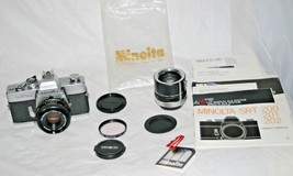 VTG Minolta SRT 202 35mm SLR Camera w/45mm Lens & Auto 3x-5 Tele Convert... - $75.95