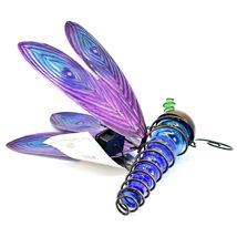 Painted Metal & Glass Solar Powered Light Garden Decoration Dragonfly Decor image 3