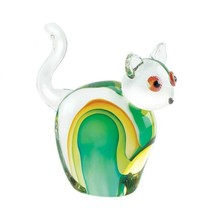 Art Glass Cat Figurine Statue w/ Hues Green & Gold Hand-Crafted - $37.95