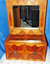 FOLK ART WOODEN HAND CARVED HANGING CHEST BUFFET WITH MIRROR L@@AT THE D... - $99.00