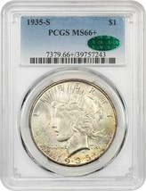 1935-S $1 PCGS/CAC MS66+ Better S-Mint - Peace Silver Dollar - Better S-... - $9,680.60