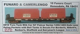 Funaro & Camerlengo HO  Twin Tank Milk Car flatcar series  1459 -1469  Kit 6910 image 1