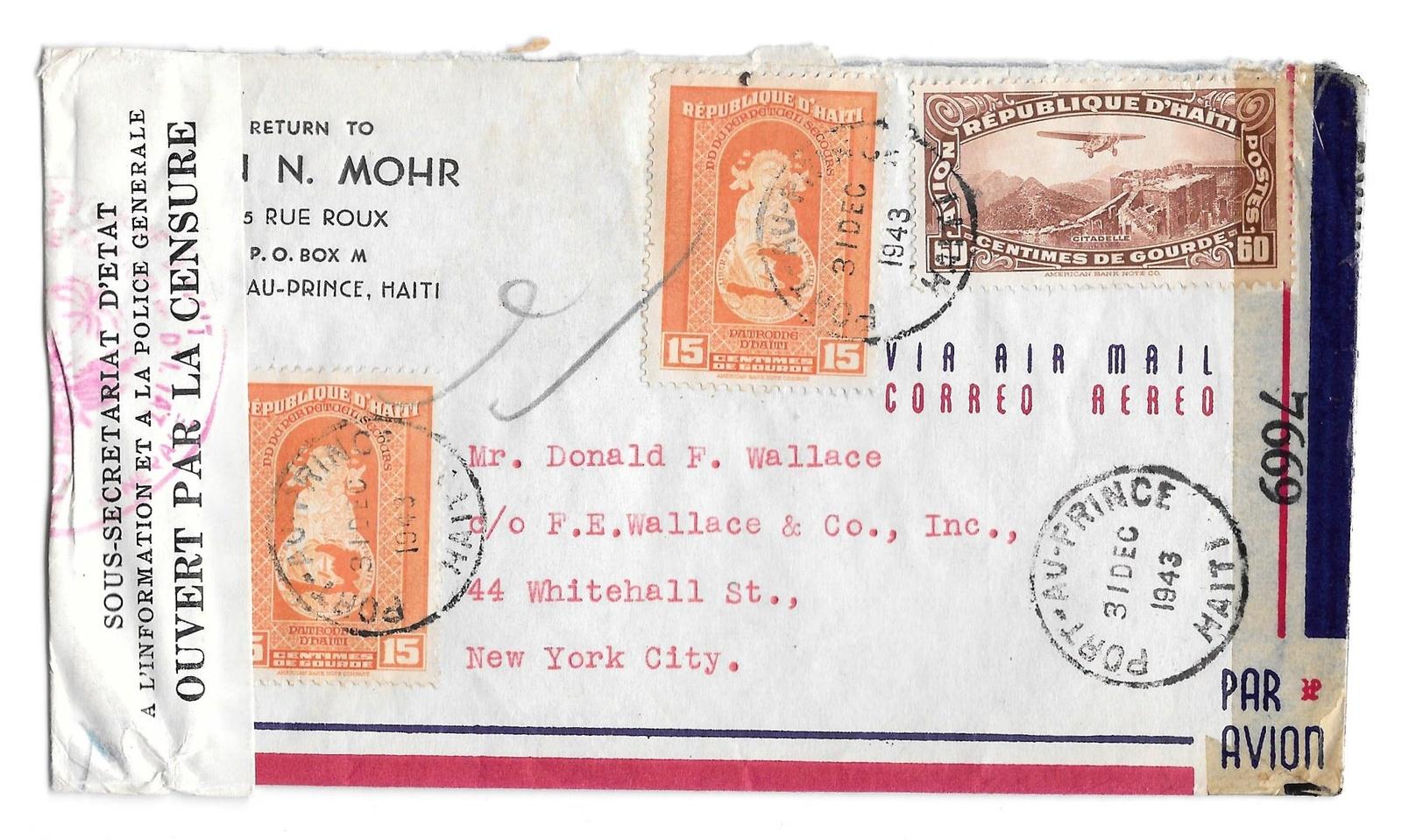 98 haiti double censored 1943 dec 31 airplane stamp
