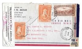 Haiti 1943 Double Censored Air Mail Cover Port au Prince to US Sc C8A 343 - $9.95