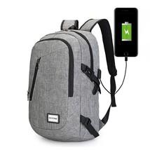 Computer Laptop Backpack USB Charging School Bag Business Male Unisex Wa... - $32.71