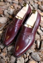 Handmade Men's Burgundy Color Slip Ons Loafer Leather Shoes image 1