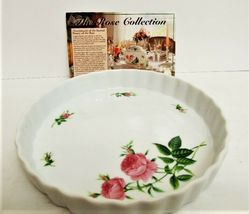 """The Rose Collection Pink Roses Fluted Edge Ceramic Pie Pan Tart Plate 9"""" image 3"""