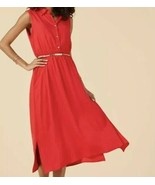 Suzanne Betro Belted Red Dress Women's Size L New - $30.68