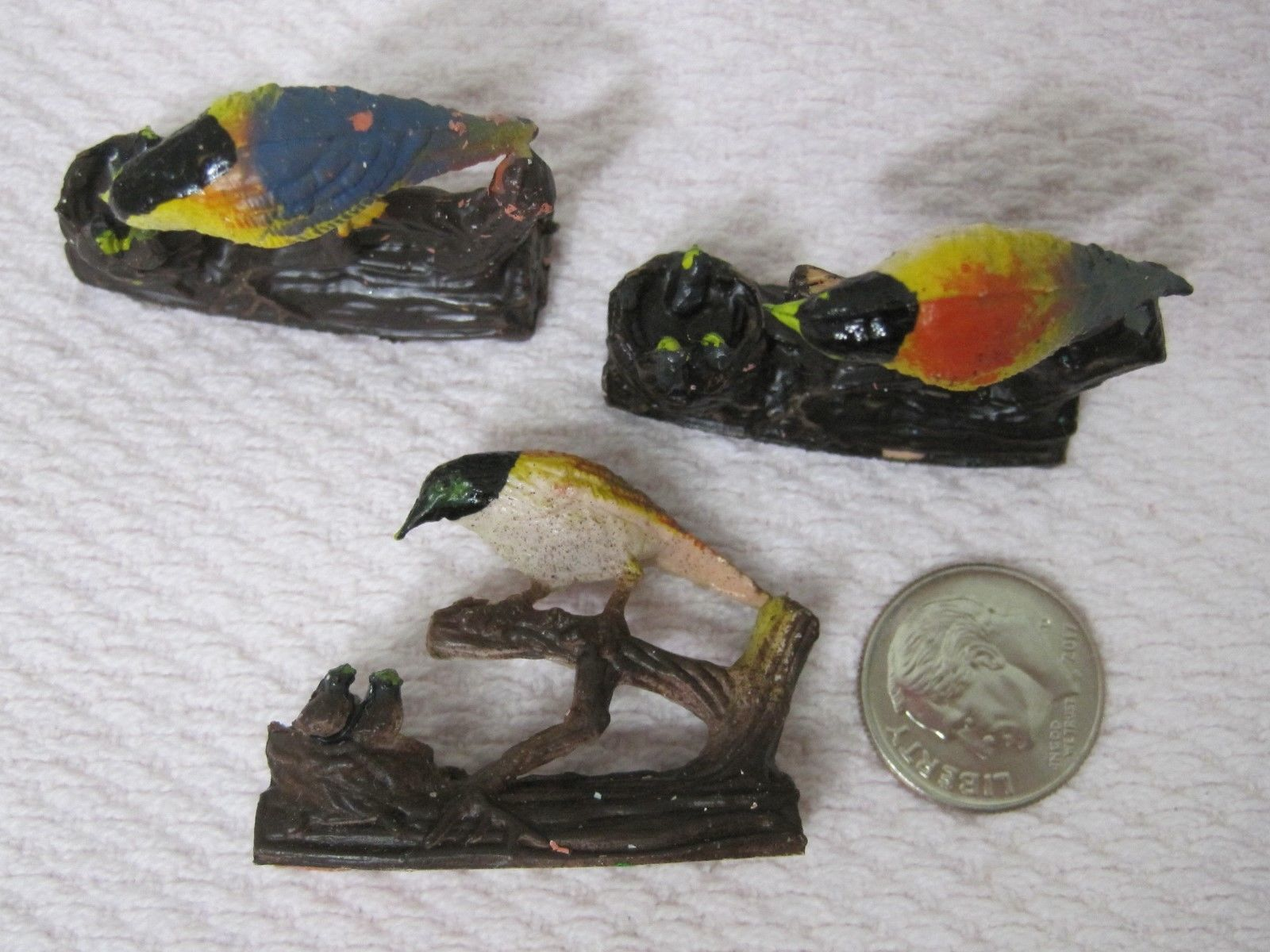 Vintage Miniature Bird on Branch w Nest 1 3/8 x 1 1/8 In Crafts Christmas 3 PC