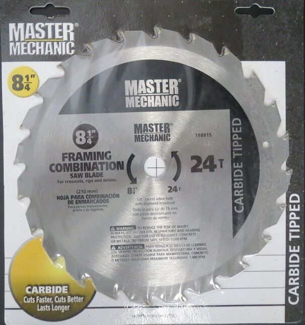 "Master Mechanic 198815 8-1/4"" x 24 Tooth Carbide Saw Blade - $6.44"
