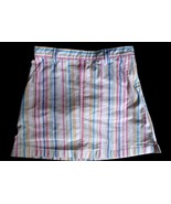 Girls Size 8 Lands End Pastel Stripe Skirt Skort Pink Blue Green Yellow ... - $10.73
