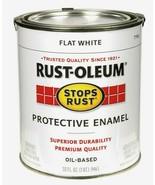 Rust-Oleum FLAT WHITE 1 qt. Stops Rust PROTECTIVE ENAMEL Oil-Based 7790-... - $19.99