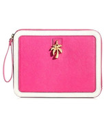 Juicy Couture Pink Leather Leni Zip Top Tablet Wristlet - $89.99