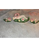Vintage Royal Sealy China Porcelain 3 Pc Swan Centerpiece Bowl Candle Holders - $59.39