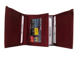 Premium Genuine Leather Tri-fold Wallet with Flip Out ID Window + Bundle Insert  - $19.63