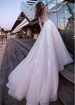Sexy Long Sleeve Top Lace Appliques  A-Line Bridal Dresses + Plus Sizes image 4