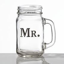 Mr. or Mrs. mason jar mug bride groom wedding glass gift  - $9.25