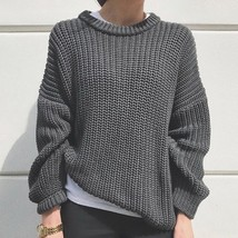 New dark gray knitted long sleeves round neck thick women sweater knit p... - $42.00