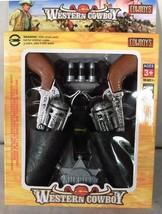 4 Western Hero Twin Pistol Guns Set Sheriff Badge Belt Cowboy Dressup Toy Gun - $18.00
