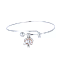 Cage Pendant Bangle Bracelets With With Oyster Pearl- 1 x Random design image 7