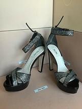 New PRADA Miu Miu Silver Black 37.5 Buckle Platform Open Toe Sandals Heels Shoes - $349.99
