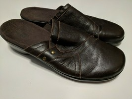 Clarks Brown Leather Clogs Slides Size 7.5 M - $24.74