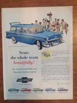 Vintage Chevrolet BEL AIR BEAUVILLE Station Wagon Magazine Ad 1956 Baseball - $10.77