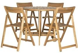 Teak Brown Crafted Acacia Wood Safavieh Outdoor Patio Kerman 5-Piece Din... - $905.83