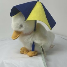 Russ Plush White Baby Duck Drizzles w/ Blue Yellow Umbrella Stuffed Toy ... - $14.85
