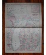"""Antique 1872  24"""" x 17 1/2""""  Map of Michigan .  - $79.00"""