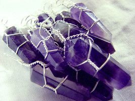 Amethyst Silver Wire Wrap Pendant LOT of 10 Wrapped Natural Crystal Poin... - €36,21 EUR