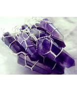 Amethyst Silver Wire Wrap Pendant LOT of 10 Wrapped Natural Crystal Poin... - $43.18
