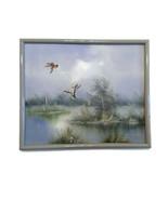 E. Max Painting Original Framed Art Signed Ducks Flying Over Water Mallards - $74.24