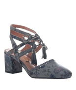 Poetic Licence Women's Ribbon Lace-Up Block Heels Leather Sandals Pewter... - $125.00
