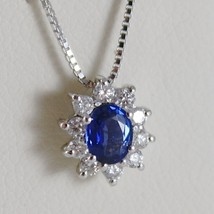 18K WHITE GOLD FLOWER PENDANT NECKLACE DIAMOND BLUE SAPPHIRE 0.67 MADE I... - $1,234.05