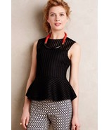 NWT ANTHROPOLOGIE BLACK MESH STRUCTURED PEPLUM TANK TOP by HD in PARIS XS - $46.74